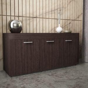 Sideboard with 3 Doors & 3 Shelves in Dark Brown Color