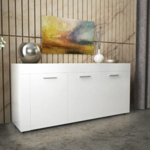Sideboard with 3 Doors & 3 Shelves in White Gloss Color
