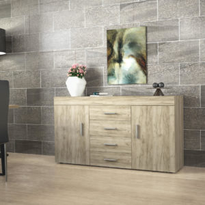 Sideboard with 2 Doors, 4 Drawers & 2 Shelves in Grey Oak Color