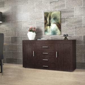 Sideboard with 2 Doors, 4 Drawers & 2 Shelves in Dark Brown Color