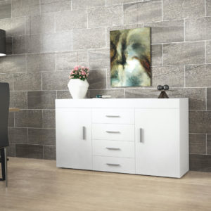 Sideboard with 2 Doors, 4 Drawers & 2 Shelves in White Gloss Color