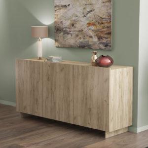 Sideboard with 3 Doors & 3 Shelves in Grey Oak Color