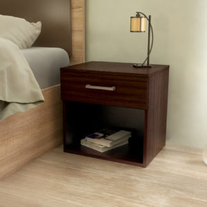 Night Stand With Drawer & Open Space in Dark Brown Color