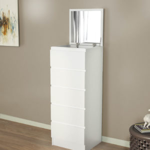 Chest Of 5 Drawers with Mirror in White Matt Color