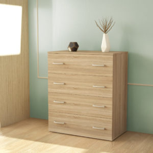 Chest Of 4 Drawers In Natural Oak Color