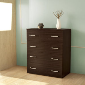 Chest Of 4 Drawers Dark Brown Color
