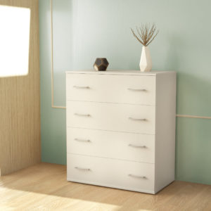 Chest Of 4 Drawers In White Matt Color