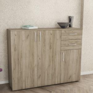 3 Doors & 2 Drawers Cabinet in Grey Oak Color