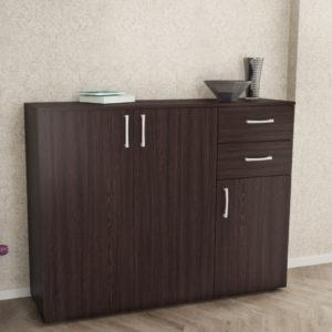 3 Doors & 2 Drawers Cabinet in Dark Brown Color