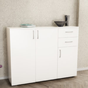 3 Doors & 2 Drawers Cabinet in White Gloss Color