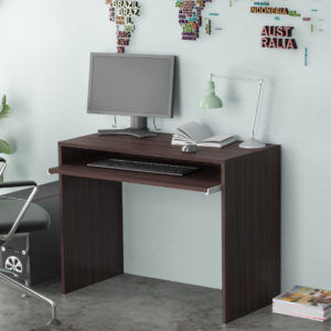 Dark Brown Office desk with Adjustable Keyboard Shelf