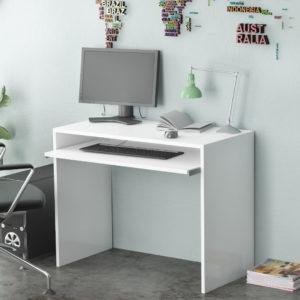 White office desk with Adjustable Keyboard Shelf