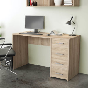 Natural Oak office desk with 4 Drawers