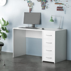 White office desk with 4 Drawers