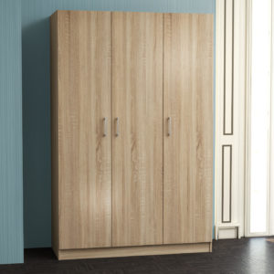 3 Door Wardrobe in Natural Oak Color