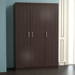 3 Door Wardrobe in Dark Brown Color