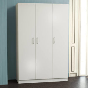 3 Door Wardrobe in White Matt Color