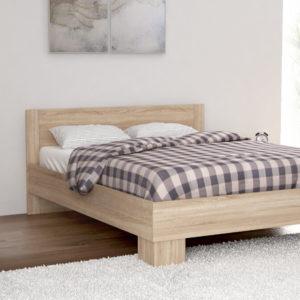 King Size Bed in Natural Oak Color Including Solid Wooden Slats