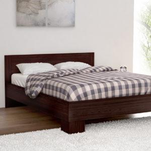 King Size Bed in Dark Brown Color Including Solid Wooden Slats