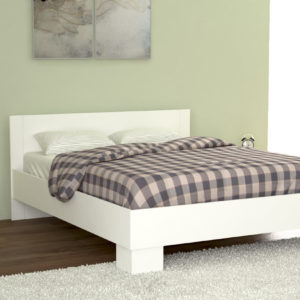 King Size Bed in White Matt Color Including Solid Wooden Slats