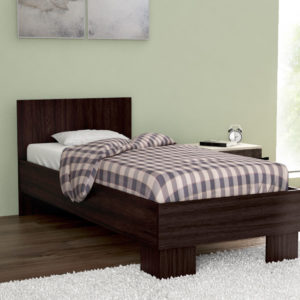 Single Size Bed in Dark Brown Color Including Solid Wooden Slats