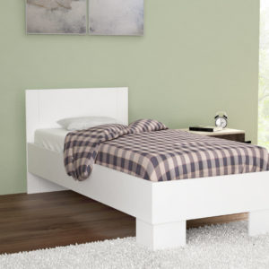 Single Size Bed in White Matt Color Including Solid Wooden Slats