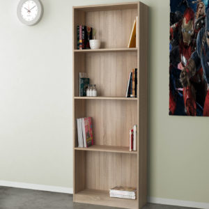 Open Bookcase In Natural Oak Color