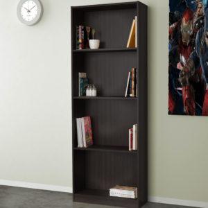 Open Bookcase In Dark Brown Color