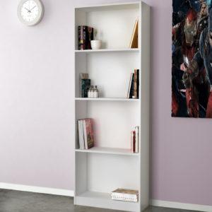 Open Bookcase In White Matt Color