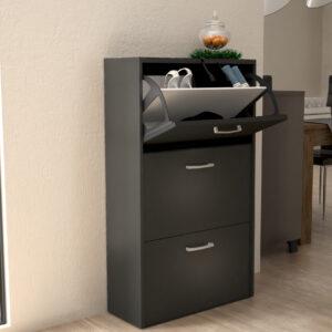 Shoe Cabinet 3 Doors in Black Color
