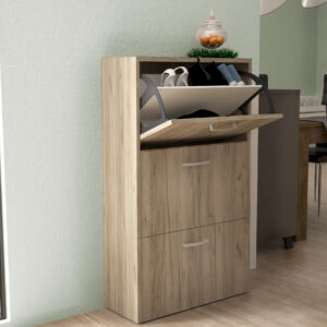 Shoe Cabinet 3 Doors in Grey Oak Color
