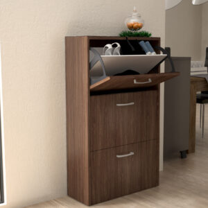 Shoe Cabinet 3 Doors in Marine Cherry Wood Color