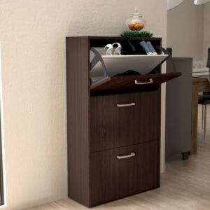 Shoe Cabinet 3 Doors in Dark Brown Color