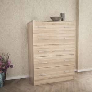 Chest Of 5 Drawers In Natural Oak Color