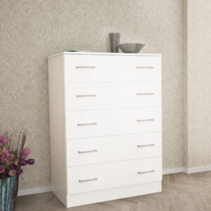 Chest Of 5 Drawers In White Matt Color
