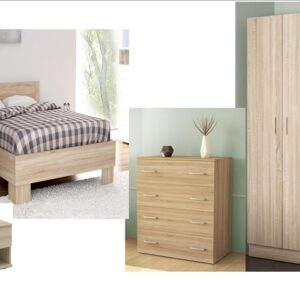 Complete Single Bedroom In Natural Oak Color