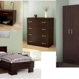 Complete Single Bedroom In Dark Brown Venge Color