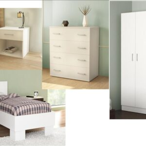Complete Single Bedroom In White Color